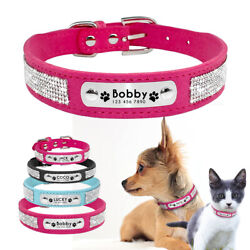 Dog Cat Personalized Collars Rhinestone Suede Leather Engraved ID Name Tags XS L $7.69