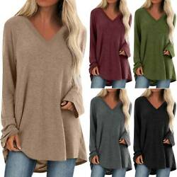 Womens Long Sleeve Loose V Neck T Shirt Blouse Ladies Casual Tunic Top Plus Size $14.43