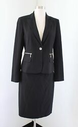 Calvin Klein Womens Solid Black Skirt Suit Set Size 2 Gold Zipper Accent Career $39.99