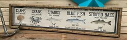 Vintage Style Fishing Measurement Wood Sign Display Rustic Decor Crab Fish 6x24 $40.00