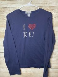COLLEGE COUTURE Womens Medium Blue KANSAS T Shirt I Heart Love KU RhinestoneS