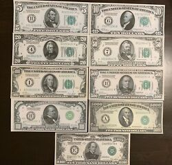 Reproduction Set 1928 Federal Reserve Notes $5 to $10000 COMPLETE SET 9 NOTES $16.99