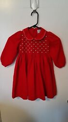 Friedknit Creations 3T Girl Smocked Roses Embroidered Red Dress Valentines Party $14.02