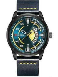 Curren: A stylish men#x27;s sports watch with a contrast colored stitch on the band $19.99