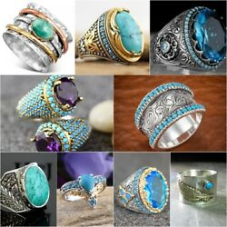 Women Men 925 Silver Turquoise Ring Jewelry Wedding Engagement Party Size 6 10 $2.43