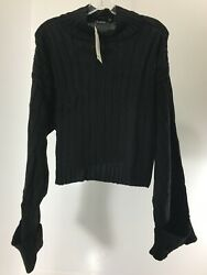 Boohoo Women's Sophie Wide Rib Maxi Sleeve Pullover Sweater Black S M NWT @ $34.49