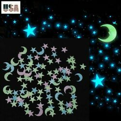 Glow In The Dark 50 100 200 3D Stars Half Moon Mix Color Wall Decor 3 Sizes $7.59