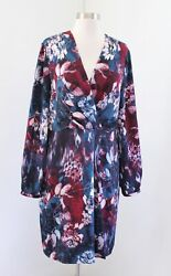 Adrianna Papell Teal Blue Abstract Long Sleeve Faux Wrap Dress Cocktail Size 14 $29.99
