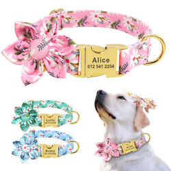 Flower Dog Personalized Collars Custom ID Name Tag Engraved for Small Large Dogs $9.99
