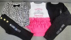 The Children#x27;s Place Baby Girl Black Outfit Lot 5 Piece Daddys Princess 12 18M $12.99