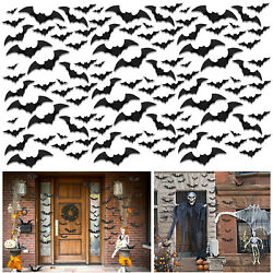 12 to 120 pcs 3D Bats Stickers Halloween Decoration Scary Window Door Wall Decal