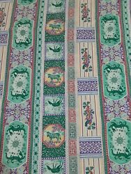 Fabric Panel Vintage Material Dragons Zebras and Deer Bright n Colorful 44 x 42 $11.99