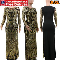 Womens Flower Long Sleeve Golden Sequin Dress Bodycon Evening Cocktail Dresses $16.99