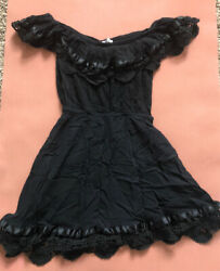 Sabo Skirt Black Off Shoulder Ruffle Cottagecore Western Dress Size 6 $28.00
