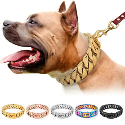 Heavy Duty Dog Wide Chain Collar Stainless Steel Choke Necklace Medium Large Dog $120.99