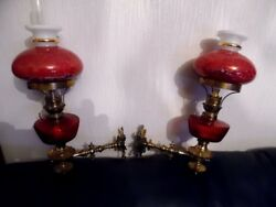 a pair of victorian oil lamps and shades GBP 995.00