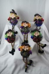 Tabletop Window Sitting Witches Lot of 6 Halloween Decor Colorful Dresses $50.00