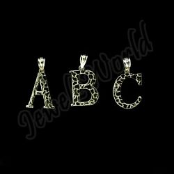 10K Solid Yellow Gold Nugget Initial Letter Pendant A Z Alphabet Necklace Charm $59.99