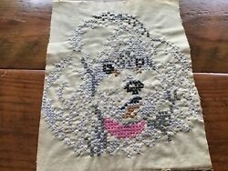 Vintage or Antique Completed Cross Stitch POODLE 8 x 10 $10.00