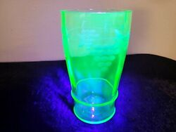 Beautiful Vintage etched grapes 5 1 4 quot; GLASS Green Uranium Depression Glass $10.99