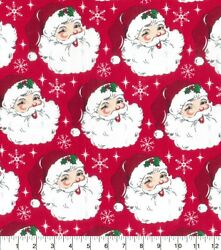 Christmas Fabric Large Santa Claus Head on Red Fabric Traditions YARD $10.98