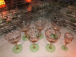 Watermelon Depression Glass Small Wine Vintage 6 Pink Green Diamond Optic gift $99.00