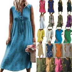 Women Casual Cotton Linen Dress Ladies Loose Baggy Kaftan Long Maxi Sun Dresses $14.15