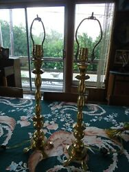 Pair Waterford Brass Lamp Lamps 7350 Feet $300.00
