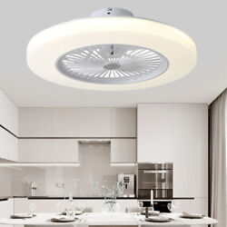 23quot; W Ceiling Fan White Flush Mount Modern LED Lamps for Bedroom with Remote $149.00