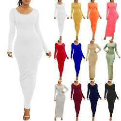 Women Bodycon Maxi Dress Casual Long Sleeves Evening Party Cocktail Pencil Dress $18.61