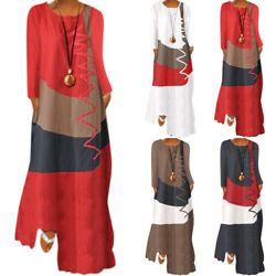 Womens Vintage Color Block Long Sleeve Kaftan Dress Summer Long Maxi Sun Dresses $20.13