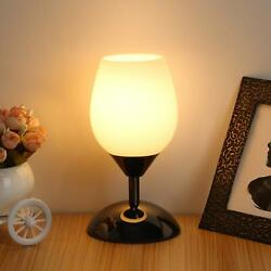 Touch Control Table Lamp Dimmable Small Lamp Ambient Light with White Opal Glass $35.99