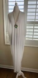 Riller amp; Fount Luca Caftan Maxi women#x27;s dress White on White BRAND NEW W TAGS $42.99