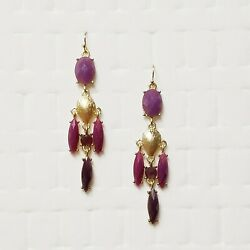 Rhinestone Statement Earrings Fall Autumn Boho Chandelier Purple Glass Gold Tone $9.99