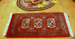 Small Antique ORIENTAL WOOL RUG Table Rug 23quot; X 12quot; Fine Condition $95.00