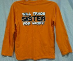 Halloween Graphic Novelty Boys LS T Shirt Sister Candy Orange Black Large 10 12 $6.88
