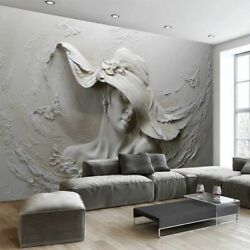 Custom Wall Cloth 3D Embossed Abstract Beauty Figure Wall Paper Bedroom Fashions $37.98