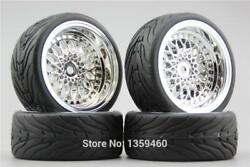 4pcs Wheels Rims amp; Rubber Tires Set for 1 10 Onroad Touring Rc Cars 12mm Hex $20.90