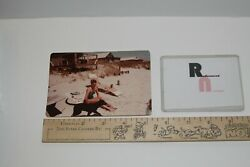 vintage PHOTO snapshot FEMALE BEAUTY woman BATHING SUIT girl with Dog Beach NC $8.00