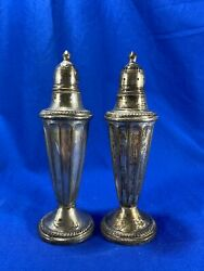 """Pair Of Vintage NS Co Sterling Silver 5.75"""" Salt And Pepper Shakers $60.00"""