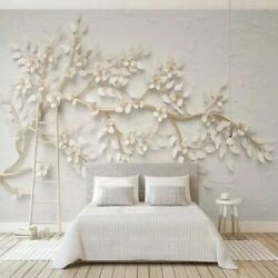 Large Paper For Wall Living Room Bedroom Background 3D Golden Twig White Flowers $14.39