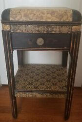 Antique Art Deco 1930#x27;s Black Vintage Nightstand Side Table End Table Cute $179.00