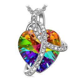Crystal Pendant Necklace Heart Aurora Borealis AB Clear Charm Colorful $7.99