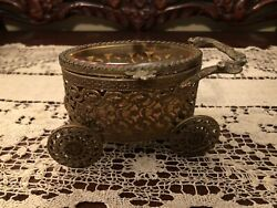 Vintage Brass Carriage Ornate Jewelry Box Amber Glass $16.50