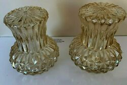 Vintage Diamond Cut Pink Colored Glass Wall Sconces or Ceiling Shades Set of 2 C $75.00
