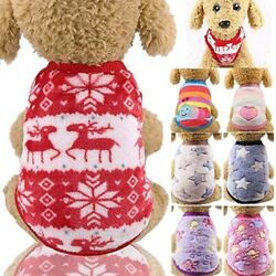 Cartoon Small Dog Sweater Puppy Vest Flannel Warm Small Teacup Dog pets Clothes $7.69