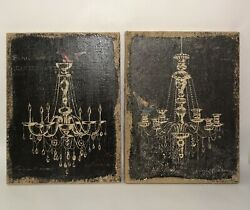 Fashion Wall Art Chandelier on Burlap Wrapped Frame 12x16 set of 2 Bird Accent $29.99