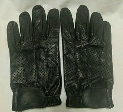 Men#x27;s PE Black Leather Driving Gloves Size XXL Sports Car Motorcycle ATV ADJ EUC $11.99