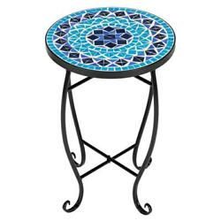 US Side Table Mosaic Ceramic Table Garden Plant Stand Holder Coffee End Table $40.99