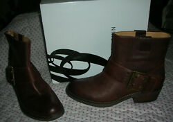 new w box NINE WEST Kassy Womens Boots LEATHER 8.5 8 1 2 Med Cognac brown $25.00